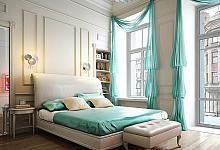 biało -  turkusowa sypialnia