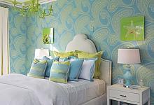 zielono- niebieska aranżacja sypialni